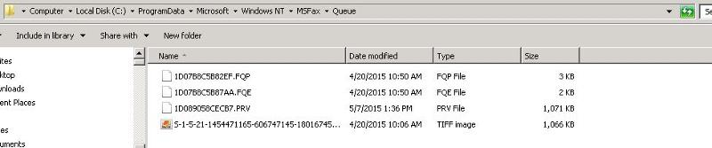 contents of fax queue folder
