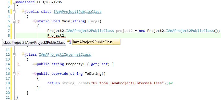 Note that IAmAProject2PublicClass is the only *visible* method for me to instantiate.