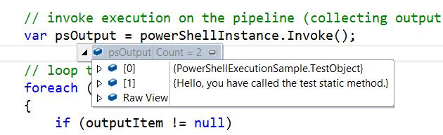 Execute Powershell script output