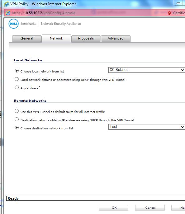 Sonicwall VPN Network Settings