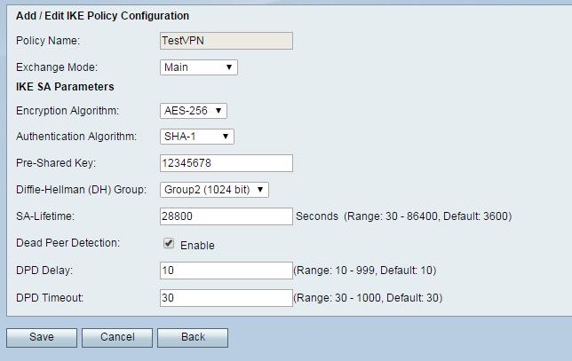 Cisco VPN Settings
