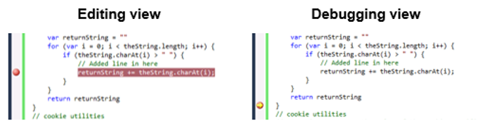 Image showing code in edit and debug view