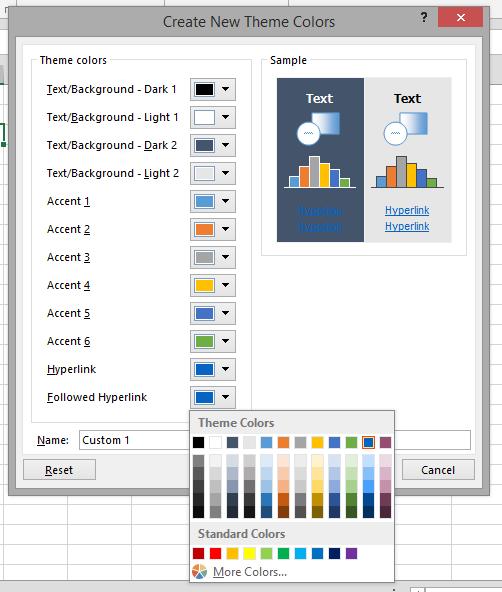 Create New Theme Colors dialog