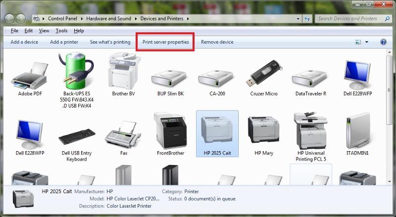 open print server properties