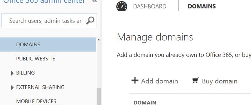 o365 manage domains