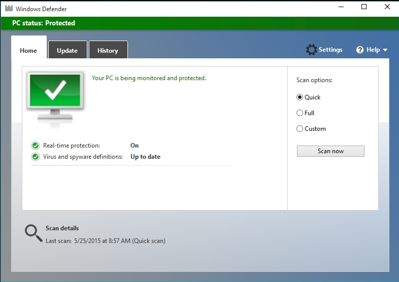 W10 Windows Defender dialog