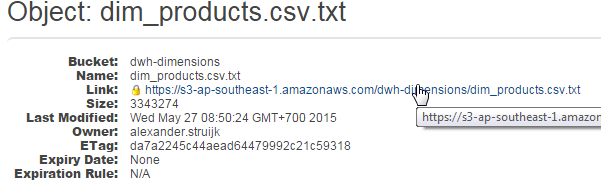 AWS File properties