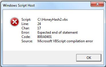 vbs error code Line 24 Char 17