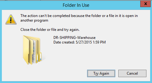 Tried to rename, folder is in use