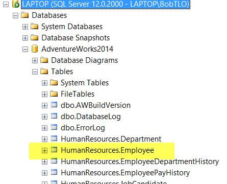 SQL Server Management Studio - Tables