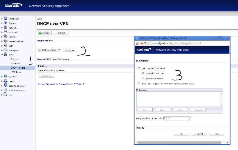 Sonicwall DHCP over VPN config