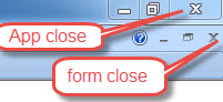 application and form close buttons