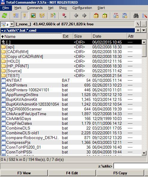 Total Commander showing *.bat, *.cmd files