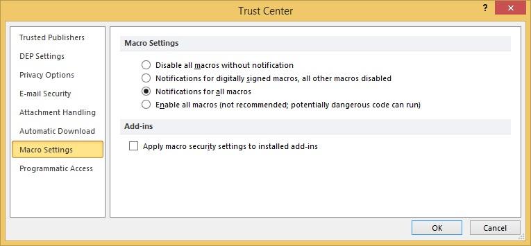 Macro Security dialog