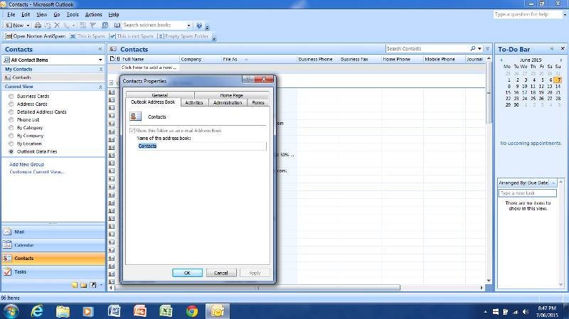 Shown this folder as an email address book is ticked and grey out