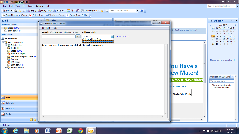 Here is only one contacts under Outlook Address Book