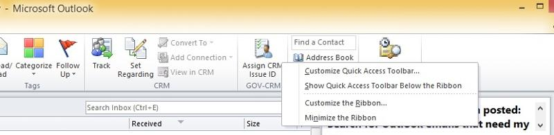 Outlook - customize ribbon