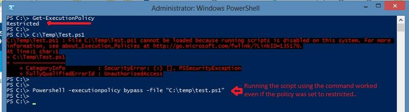 Run the script using powershell.exe