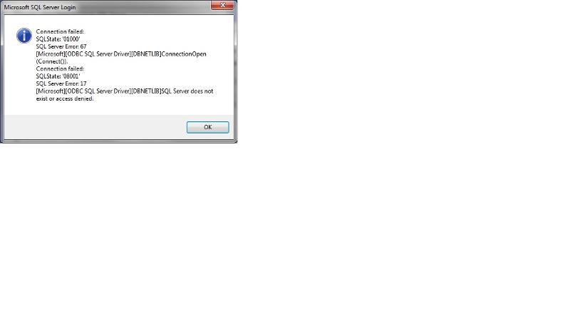 DSN setup error message