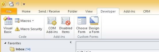 Outlook - Developer tab