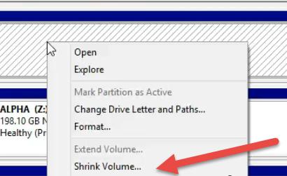 select shrink volume