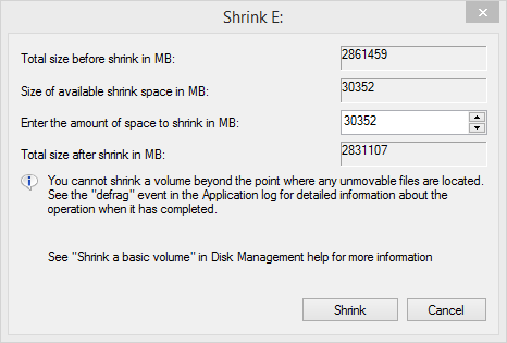 select the amount of space to shink