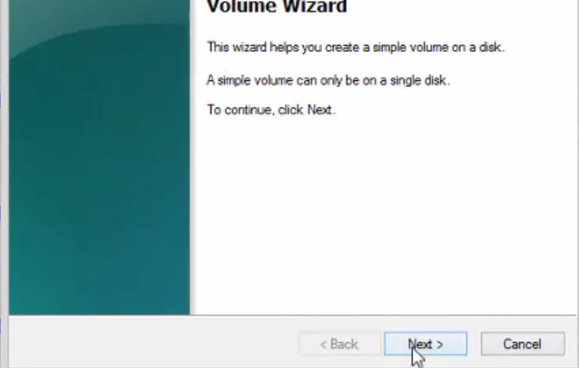 right click and select new volume