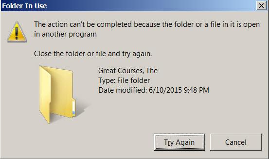 Error Message - Screen Capture