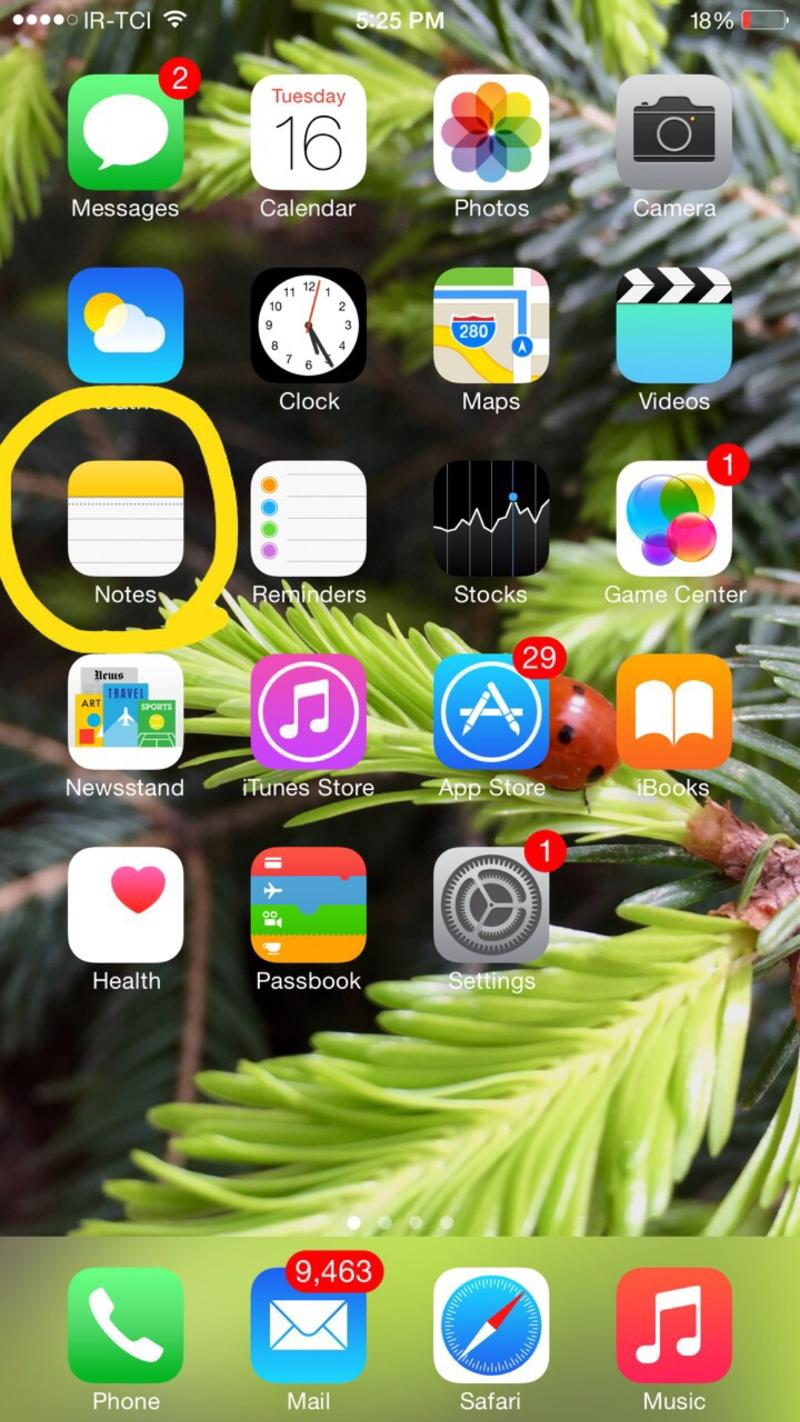 iOS Springboard and Notes app