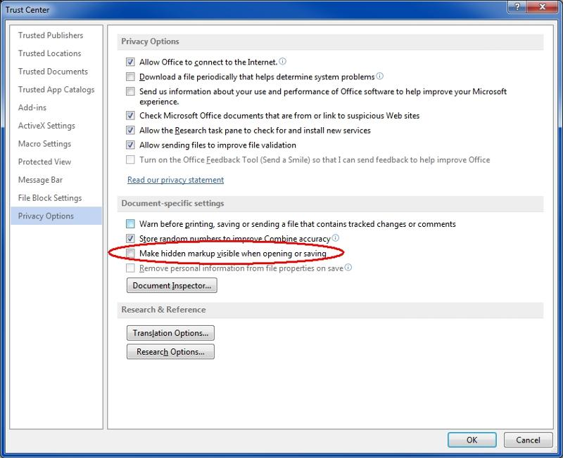 Word2013 Privacy Options