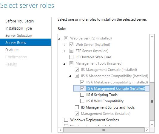 The Management tools that need to be installed for SMTP management are the IIS6 options
