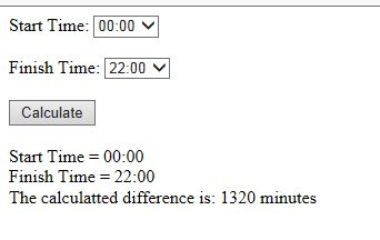 Hitting the calculate button calculates the number of minutes between the start and finish time.