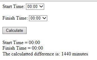 Here we see that if we select the start and finish of 00:00 that we end up with 1440 minutes (24 Hours)