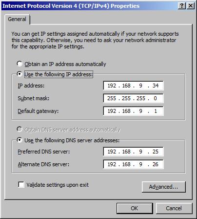 IPv4 settings on workstation