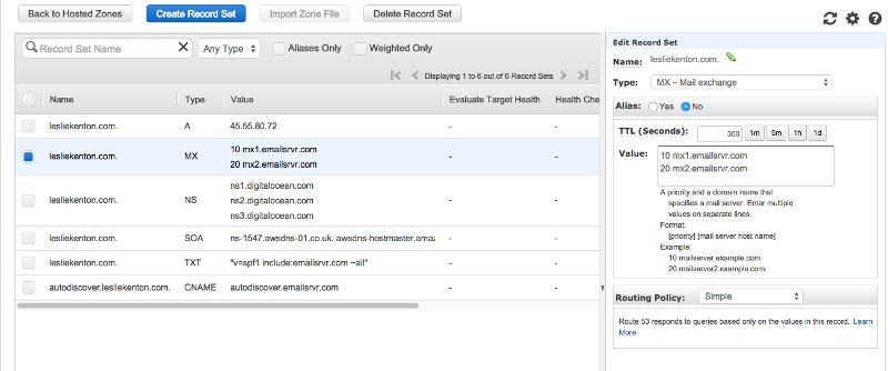 screenshot of aws route 53 consol