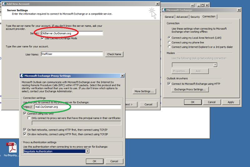 Outlook Anywhere sample settings