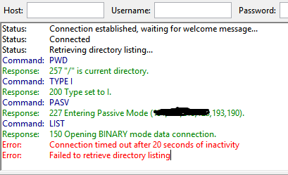 Connecting and listing with FTP on IIS