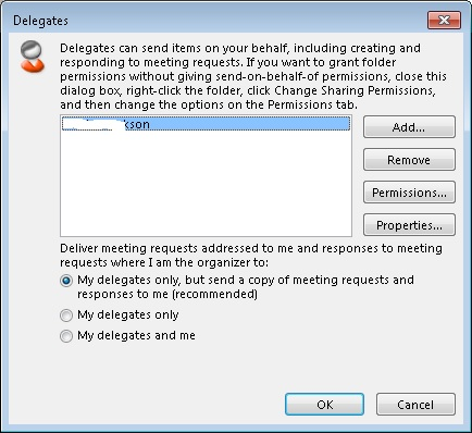 Exchange 2013 Delegate settings