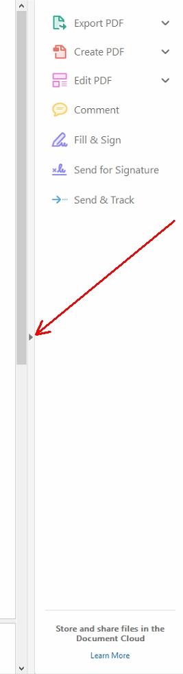 Reader DC remove right panel