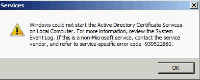ADCS service error
