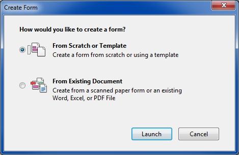 Acrobat XI Create Form
