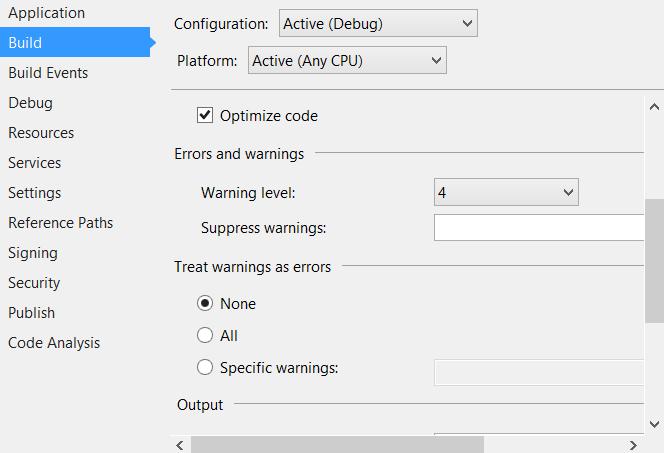 Visual Studio proect options