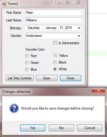 Obviously attempting to close presents the dialog box that changes were detected.