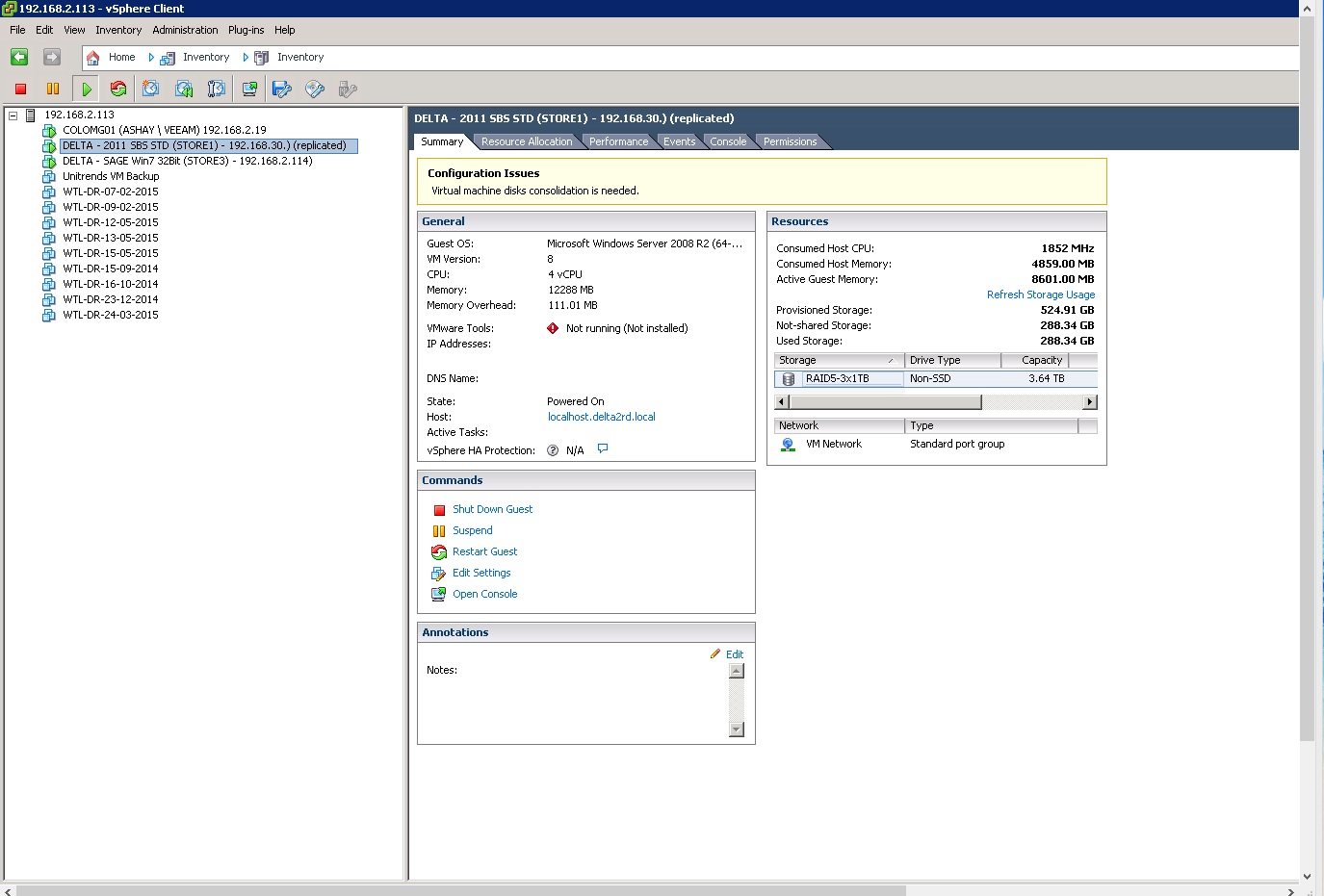 """esxi 5.5 """"virtual machine disk consolidation is needed"""""""