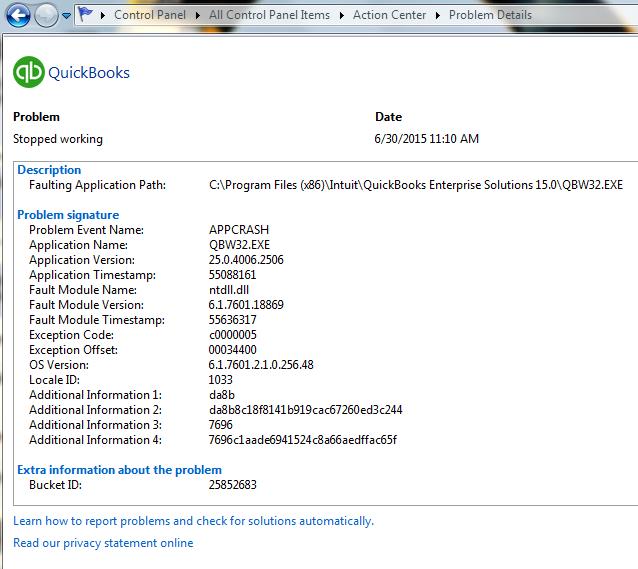 crash details from Windows