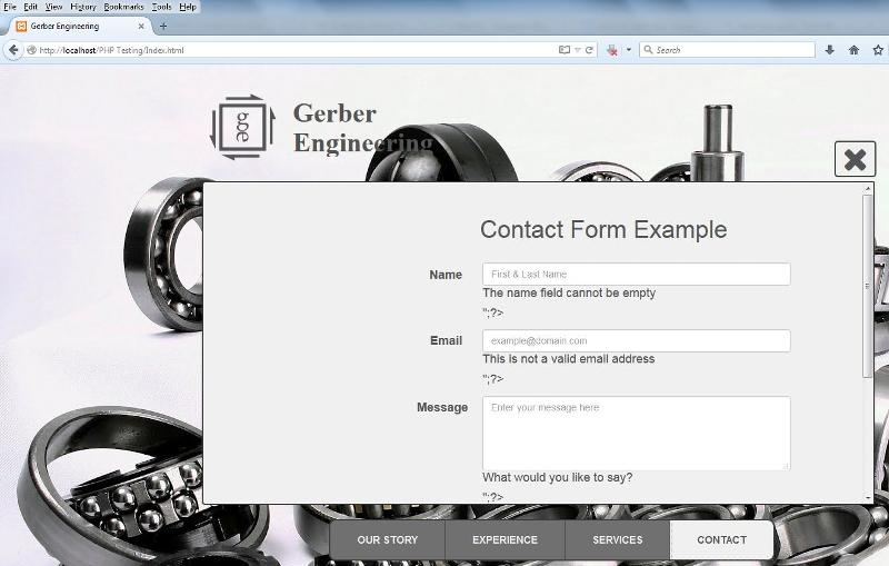 Contact form on local host