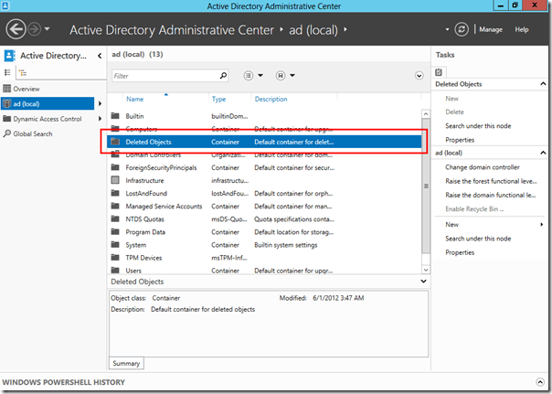 Deleted object at Active Directory Administrative Center (ADAC)