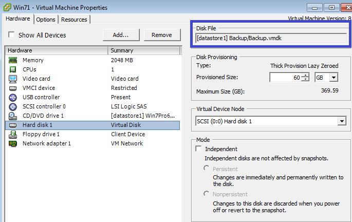 Edit Settings - Hard disk1