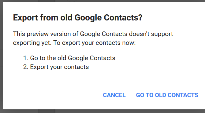 select go to old contacts