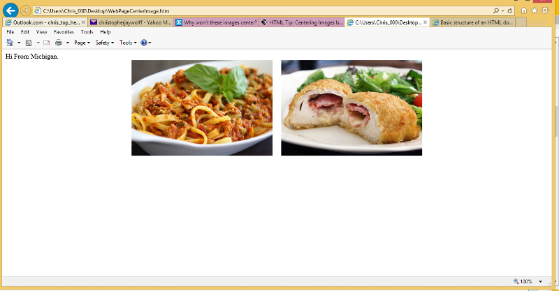 My crude html to center image.